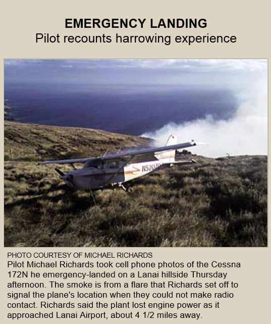 20070819scp.. C172 forced landing field on Lanai (M.Richards)