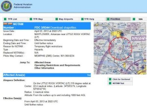 20130403.. screenshot of NOTAM FDC 3-9344, Mayflower dilbit accident
