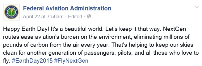 20150422scp.. FAA's 'Happy Earth Day' FB text
