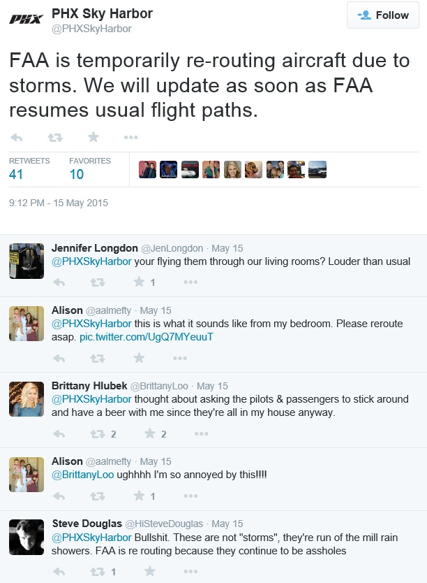 20150515at2112.. KPHX tweet re FAA altering flightpaths due to storms, numerous comments