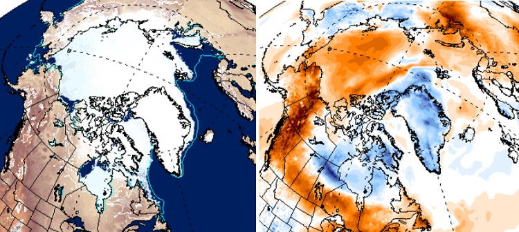 20150526scp.. Arctic Sea Ice Extent and Air Temp Anomaly (ClimateReAnalyzer)