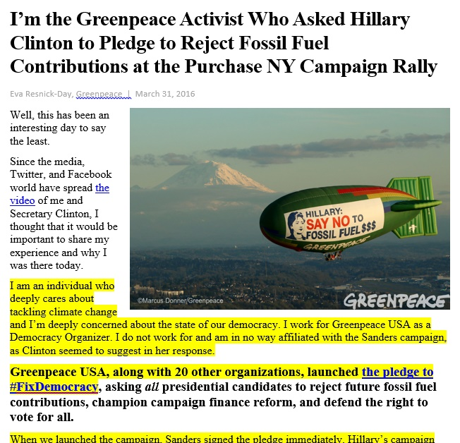 20160331.. 'I'm the Greenpeace Activist who Asked HRC to Pledge rejecting FF money'(E.Resnick-Day, Greenpeace)